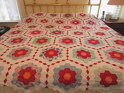 Vintage Hand Stitched Quilt Top Grandma's Flower Garden White, Red Multi Colored