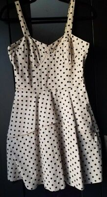 Bar III NWT Women's Size M Polka Dot peplum Dress cotton blend Ivory & black