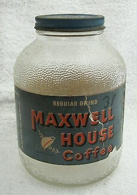 Vintage Maxwell House Coffee Jar with Label and Lid Nice Fat jar !  SHP