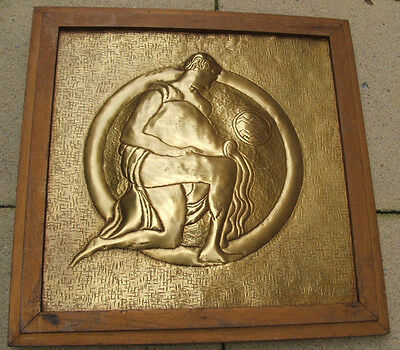 ARTS AND CRAFTS BRASS PANEL AQUARIUS - astrology - The water Bearer