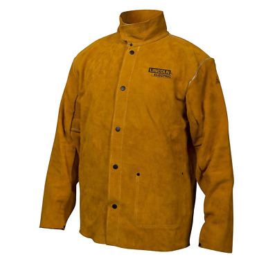 Lincoln Electric Brown Large Flame-Resistant Heavy Duty Leather Welding Jacket