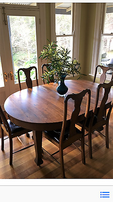 Antique Blackwood Dining Set With 6 High Back Chairs