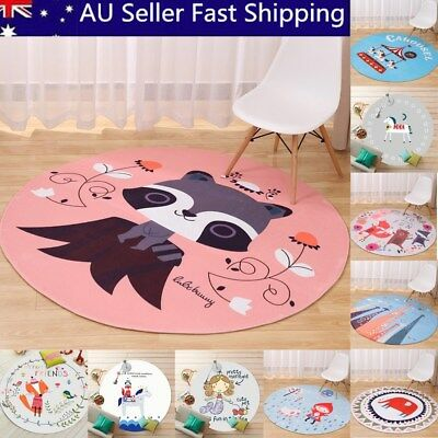 Cartoon Children Animal Round Floor Mat Kids Bedroom Carpet Living Room Area Rug