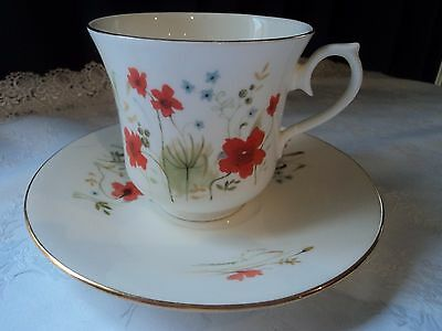 Queen Anne vintage bone china cup and saucer - red wildflowers