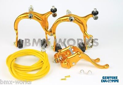 Dia-Compe MX883 - MX123 Tech 4 Gold Brake Set - Old School BMX Style Brakes