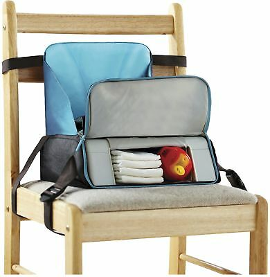 New Baby Travel Booster Seat Portable Toddler Dining Highchair Home - Grey/Blue