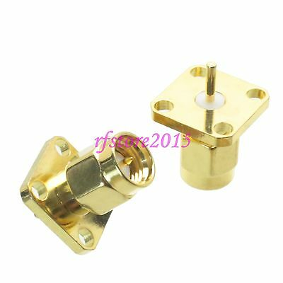 1pce Connector SMA male 4-holes Flange solder Panel mount RF COAXIAL