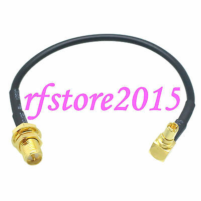 Cable RG174 6inch RP-SMA female bulkhead to TS9 male 90° gold Pigtail Jumper
