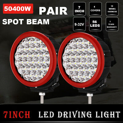 NEW 7inch 28800W LED CREE Spot Driving Light Round Off Road 4WD HID Red 12V 24V