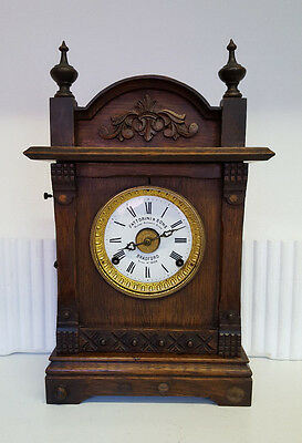 Vintage Fattorini & Sons Wooden 8 Day Clock with Patented Automatic Alarm
