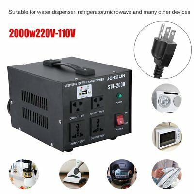 2000W 110 to 220 Electrical USB Power Voltage Converter Transformer Heavy Duty