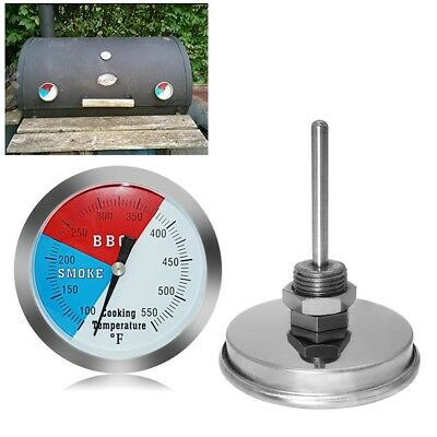 Stainless Barbecue BBQ Charcoal Grill Wood Smoker Thermometer Temp Gauge 550℉