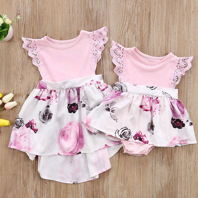 Big Sister/ Baby girls Floral Clothing lace Floral Romper &Dress clothes Suits