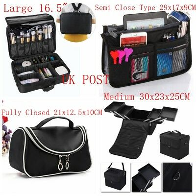 Black Make Up Case Hairdressing Vanity Beauty Cosmetic Box Trolley Extra Large