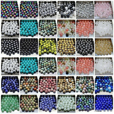 4/6/8/10/12MM Natural Gemstone Round Spacer Beads Jewelry Making Crystals Stone