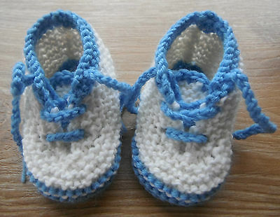 Hand Knitted Baby Booties -Sneakers- Newborn / Reborn Doll