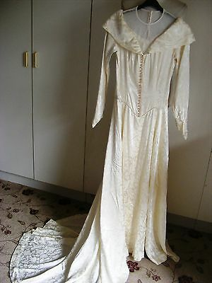 Vintage Bride ivory wedding dress 1930s liquid figured satin & train size 8-10UK