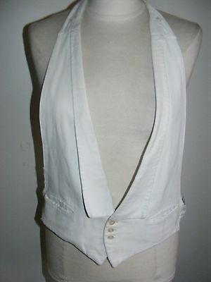Vintage 1930s white marcella honeycomb evening front vest waistcoat Hayhurst 34""