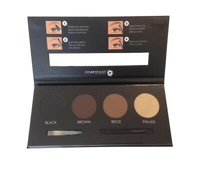 Covershoot 3 Colour Eyebrow Powder and Primer Palette with Brush and Tweezer