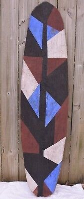 Large Wooden African Shield Painted White Red Blue Unknown Over 5 ft
