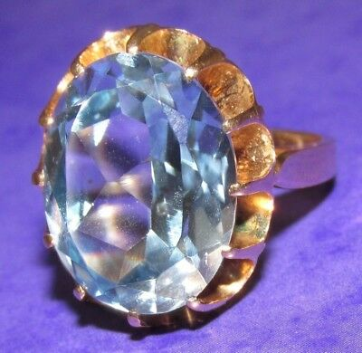 VINTAGE 14ct YELLOW GOLD OVAL CREATED BLUE SPINEL SOLITAIRE RING SIZE P
