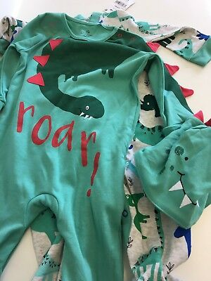 Next Baby Boys Sleepsuits 6-9 Months BNWT - Next Baby Baby grow Dinosaur Hat