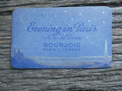 WW2 1940 Bourjois perfume card calendar evening in Paris Soir de Paris France
