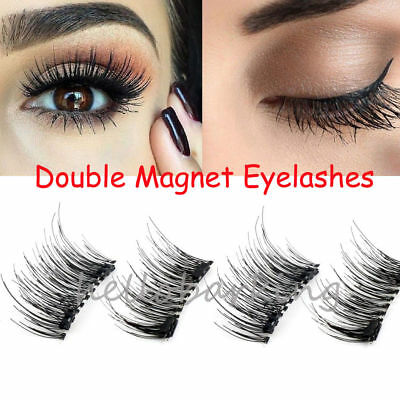 2Pairs Double Magnetic Eyelashes Handmade Reusable False Eye Lashes Extension UK