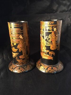 Antique Japanese Lacquered Paper Mache Vases