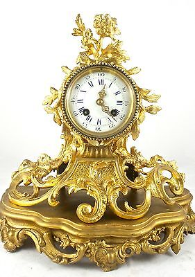 Antique 1855 French gilt ormolu bronze Rococo 8 day mantle clock by Japy Freres