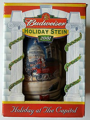 2001 Budweiser Holiday Stein Holiday at the Capitol, New In Box with Certificate