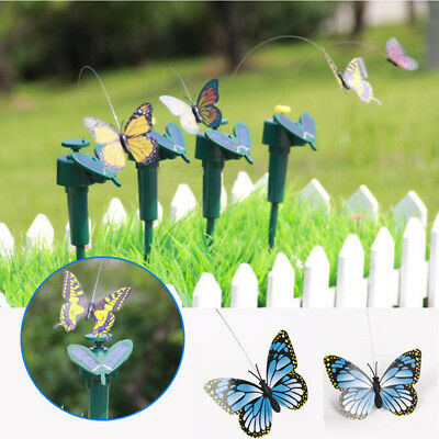 Solar Powered Butterfly Flying Garden Ornament Outdoor Steel Wire Supply Pet Toy