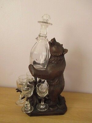Antique Black Forest Decanter Bear Stand Swiss Wood Carving