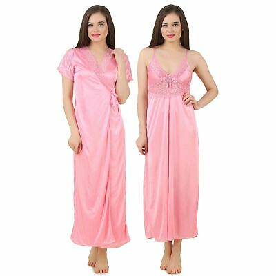 Womens Satin Lace Long Nightdress Ladies Nighty Chemise Lace Detailed