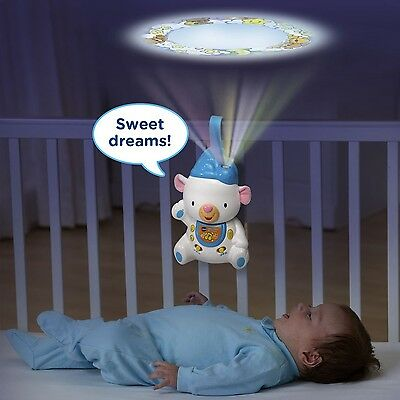 Crib Mobile Projector Baby Good Night Light Lullaby Blue Bear Sleep Songs