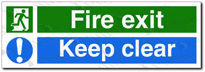 Fire Exit Keep Clear Safety Sign - rigid 450 x 150mm