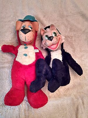1959 Huckleberry Hound & Mr. Jinks Plush & Vinyl Dolls Knickerbocker