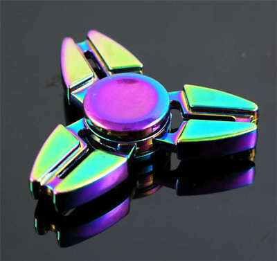 Rainbow Tri EDC Fidget Hand Spinner Metal Finger Focus Stress Autism Desk Toy M6