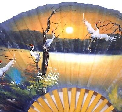 """Vintage Hand Painted Oriental Asian Chinese Made Hand Fan Whit Swans 24""""H x 40""""W"""