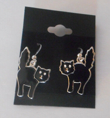 silver tone black cat  earrings   Halloween