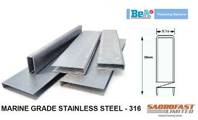 BeA 14/38 HEAVY DUTY MARINE GRADE STAINLESS STEEL STAPLES BOX 2,000