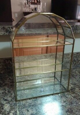 Small Brass/glass/mirror Curio Display Wall/table Cabinet
