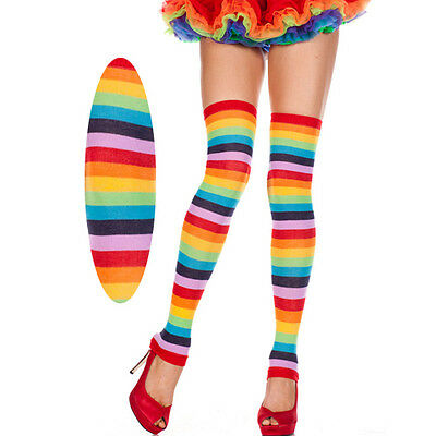 Rainbow Striped Thick Footless Thigh High Hi Leg Warmers MLP Costume Cosplay OS