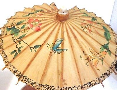 "Vintage Japanese Bamboo Rice Paper Umbrella Butterflies Floral Vines 15"" x 13"""