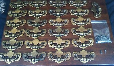 "25 Matching Vintage Metal Drawer Pulls Speckled Gold 4 1/4"" Bore With Hardware"