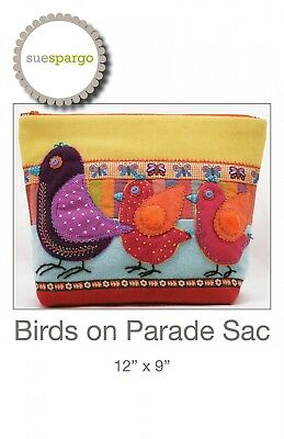 BIRDS ON PARADE HAND EMBROIDERY PATTERN, From Sue Spargo Folk-Art Quilts, *NEW*