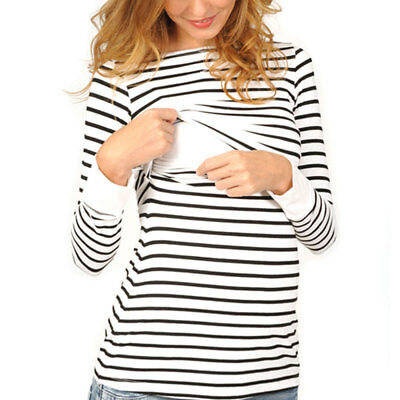 New Women's Maternity Breastfeeding Nursing Striped Long Sleeve T-shirt