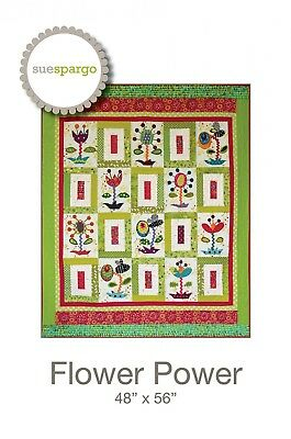 FLOWER POWER HAND EMBROIDERY PATTERN, From Sue Spargo Folk-Art Quilts,*NEW*