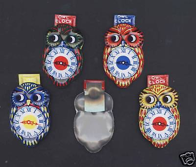 4 TIN OWL CLOCK CLICKERS - NEW OLD STOCK - c1960s?