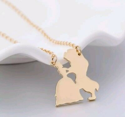 Beauty and the Beast Silhouette Gold Necklace